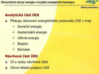 Obnovitelné zdroje energie a krajské energetické koncepce