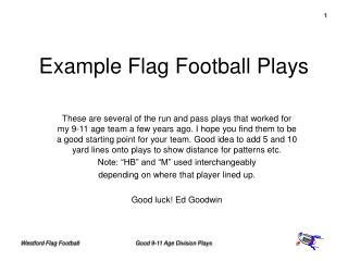Example Flag Football Plays