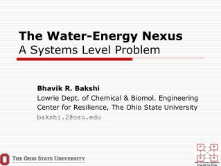 The Water-Energy Nexus A Systems Level Problem