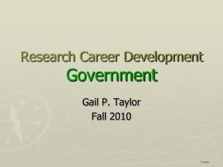 Research Career Development Government