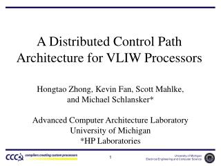 A Distributed Control Path Architecture for VLIW Processors
