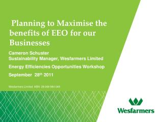 Planning to Maximise the benefits of EEO for our Businesses
