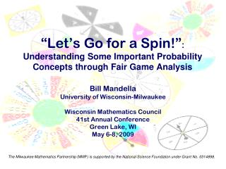Bill Mandella University of Wisconsin-Milwaukee Wisconsin Mathematics Council