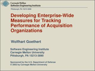Developing Enterprise-Wide Measures for Tracking Performance of Acquisition Organizations