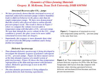 Dynamics of Glass-forming Materials Gregory  B. McKenna, Texas Tech University, DMR 0307084
