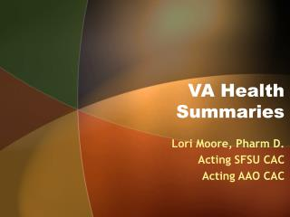 VA Health Summaries