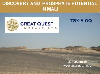 DISCOVERY AND  PHOSPHATE POTENTIAL IN MALI