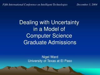 Nigel Ward University of Texas at El Paso