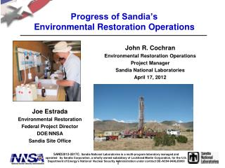 Progress of Sandia's  Environmental Restoration Operations