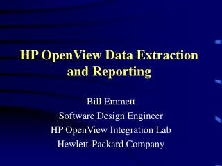 HP OpenView Data Extraction and Reporting