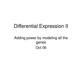 Differential Expression II
