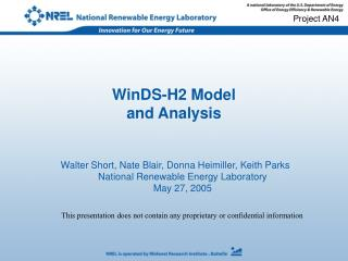 WinDS-H2 Model  and Analysis
