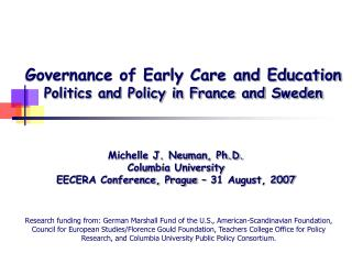 Governance of Early Care and Education Politics and Policy in France and Sweden