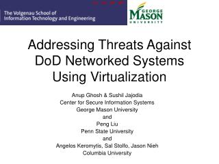 Addressing Threats Against DoD Networked Systems Using Virtualization