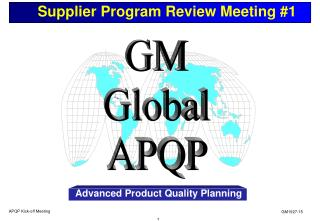 Supplier Program Review Meeting #1