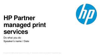 HP  Partner managed print services