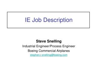 IE Job Description