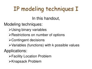 IP modeling techniques I
