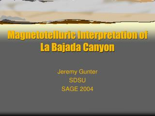 Magnetotelluric Interpretation of La Bajada Canyon
