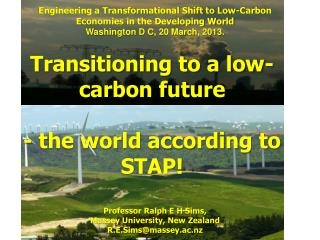 Transitioning to a low-carbon future - the world according to STAP!