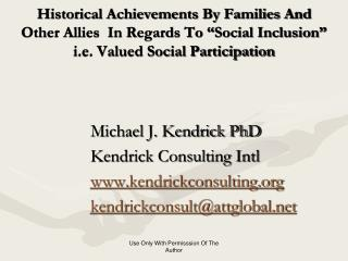 Michael J. Kendrick PhD Kendrick Consulting Intl kendrickconsulting