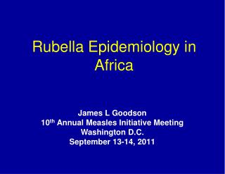 Rubella Epidemiology in Africa