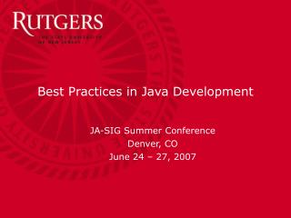 Best Practices in Java Development