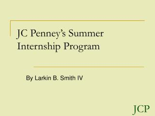 JC Penney's Summer Internship Program