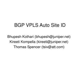 BGP VPLS Auto Site ID