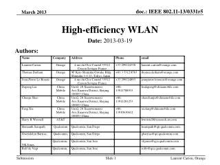 High-efficiency WLAN