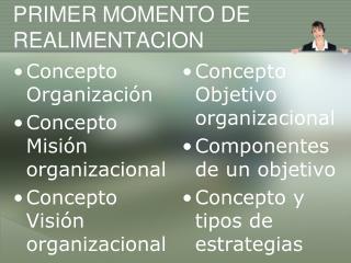 PRIMER MOMENTO DE  REALIMENTACION
