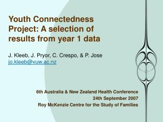 6th Australia & New Zealand Health Conference 24th September 2007