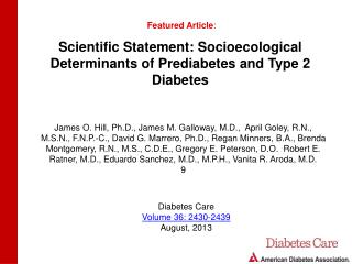 Scientific Statement: Socioecological Determinants of Prediabetes and Type 2 Diabetes
