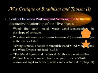 JW's Critique of Buddhism and Taoism (I)