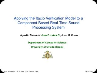 Applying the Itacio Verification Model to a Component-Based Real-Time Sound Processing System