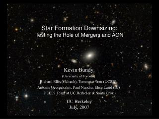 Star Formation Downsizing: Testing the Role of Mergers and AGN