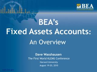 BEA's  Fixed Assets Accounts :