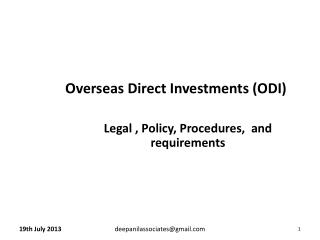 Overseas Direct Investments (ODI)