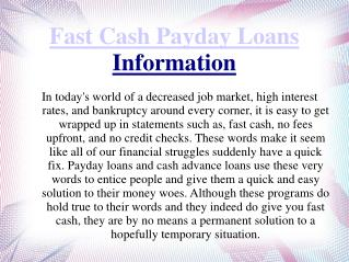 Fast Cash Payday Loans Information