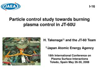 Particle control study towards burning plasma control in JT-60U