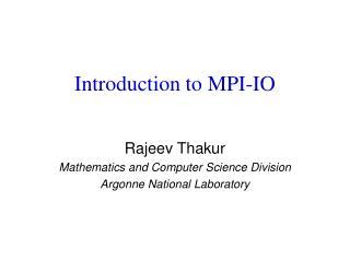 Introduction to MPI-IO