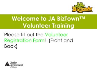 Welcome to JA BizTown™ Volunteer Training