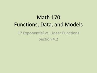 Math 170  Functions, Data, and Models