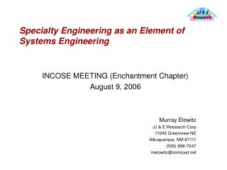 Specialty Engineering as an Element of Systems Engineering