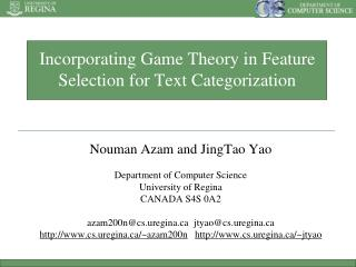 Incorporating Game Theory in Feature Selection for Text Categorization