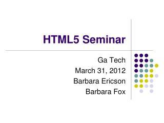 HTML5 Seminar