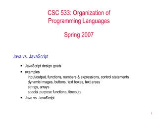 CSC 533: Organization of  Programming Languages Spring 2007