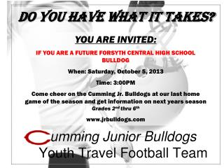 umming Junior Bulldogs Youth Travel Football Team