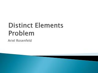 Distinct Elements Problem