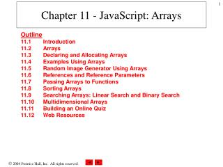 Chapter 11 - JavaScript: Arrays